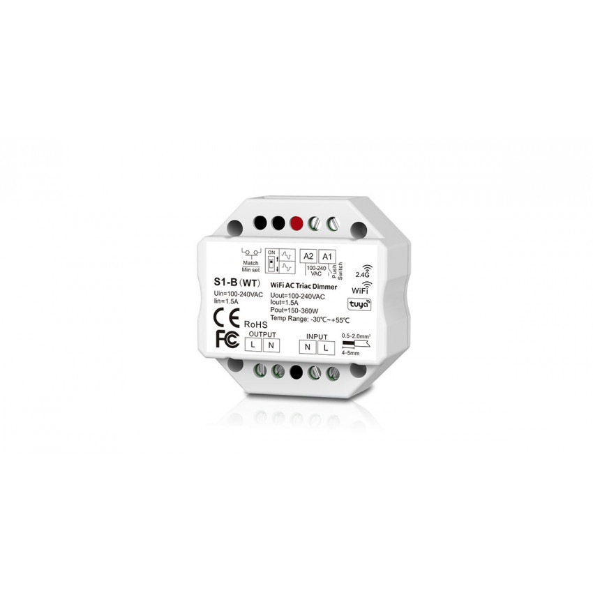 Regulador LED WiFi Triac RF Compatible con Pulsador