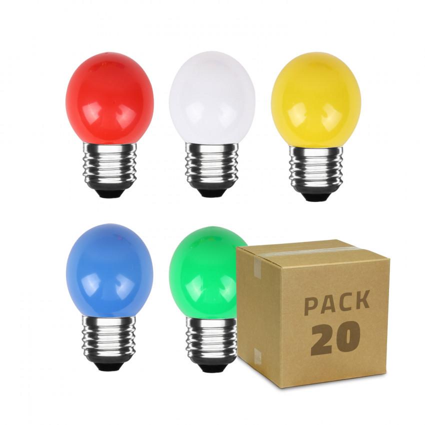 Pack de 20 Bombillas LED E27 G45 3W Colores Parchís