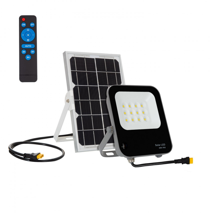 Foco Proyector LED Solar 30W IP65 con Control Remoto