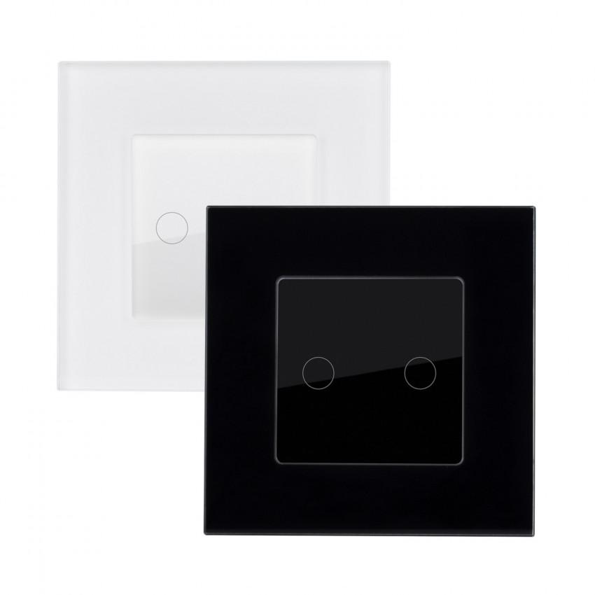Interruptor Táctil Doble Conmutado con Marco Cristal Modern