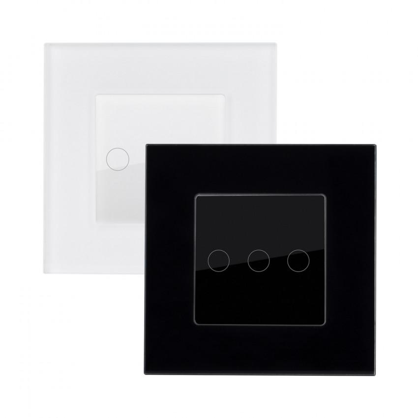 Interruptor Táctil Triplo Comutado com Moldura de Vidro Modern