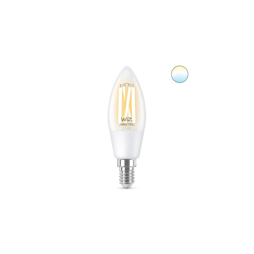 Lâmpada LED Smart WiFi E14 C35 CCT Regulável WIZ Filamento Vela 4.9W