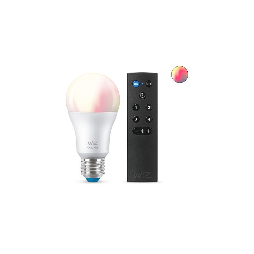 Bombilla LED Smart WiFi + Bluetooth E27 A60 RGB+CCT Regulable WIZ 8W con Mando Smart WiFi WIZ Wizmote