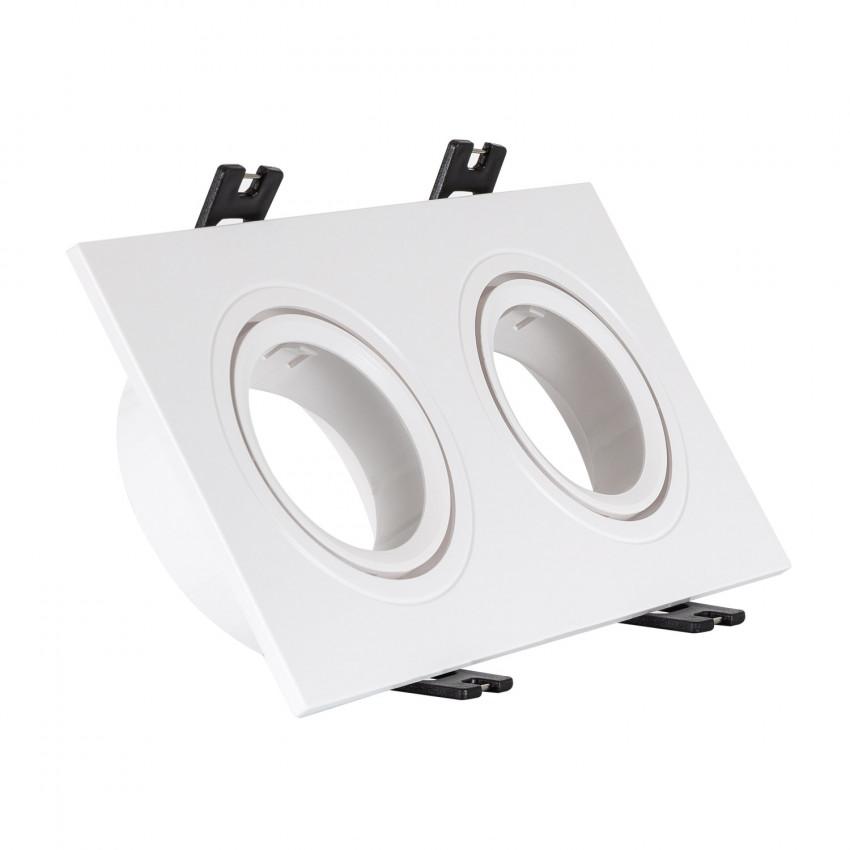 Aro Downlight Cuadrado Basculante PC para dos Bombillas LED GU10 / GU5.3 Corte 75x150 mm
