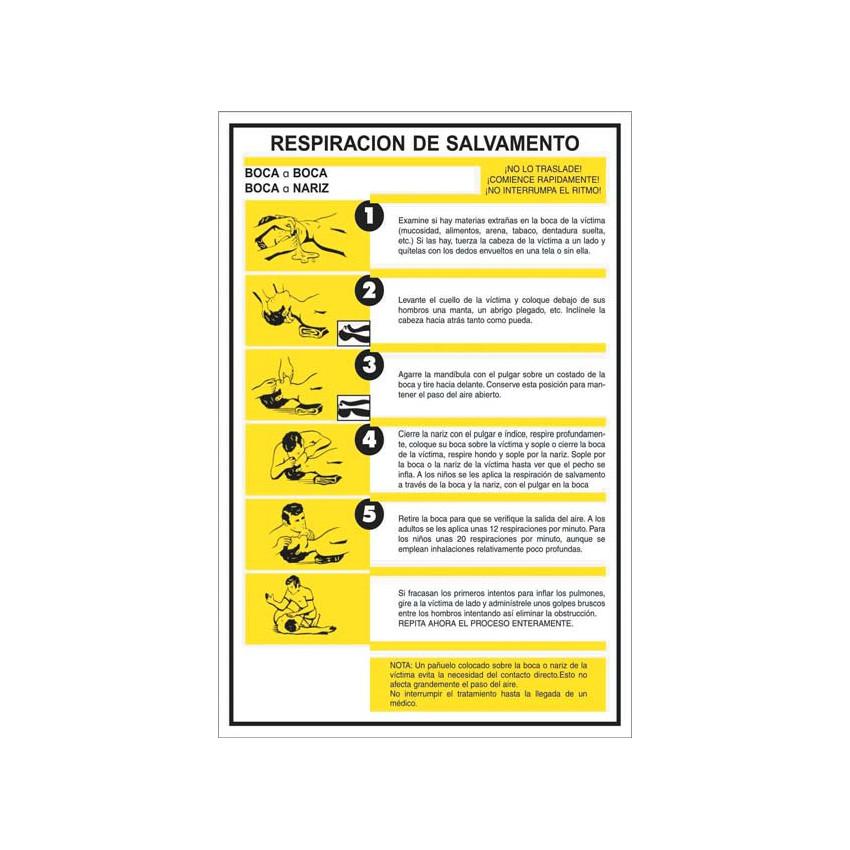 Pack 6 Unidades Cartel PVC Primeros Auxilios - Respiración de Salvamento CATU AP223S