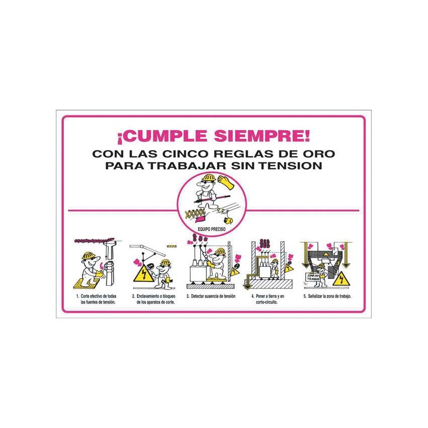 Pack 6 Unidades Cartel PVC 5 Reglas de Oro CATU AP223O