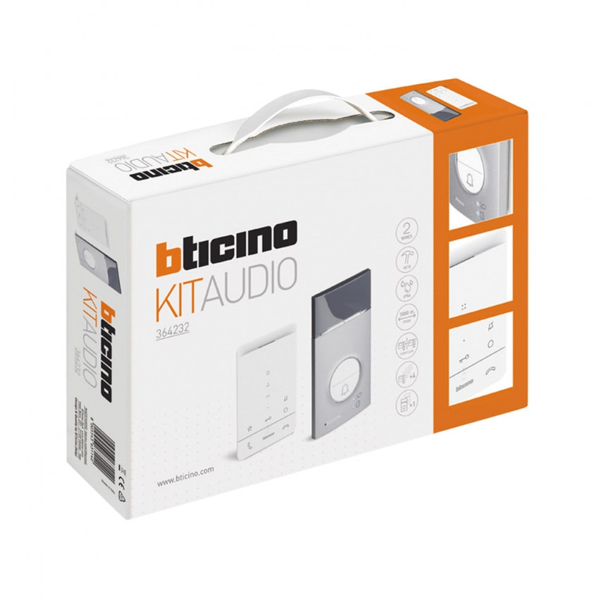Kit Portero 1 Vivienda 2 Hilos con Placa LINEA 3000 y Teléfono Manos Libres CLASSE 100 BTICINO 364232