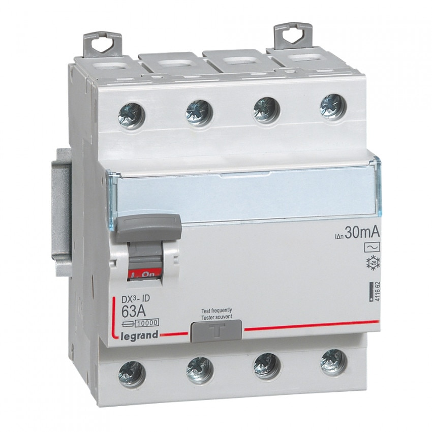 Interruptor Diferencial DX3 Terciário 4P 30mA Tipo AC 63 A LEGRAND 411662