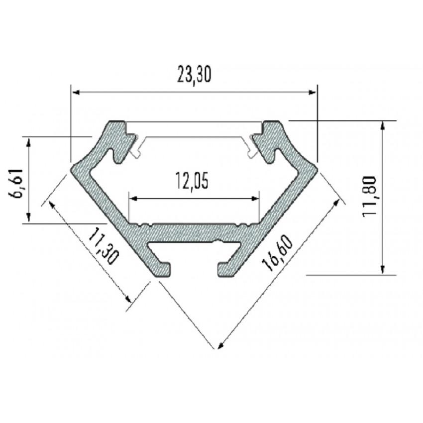 Perfil de Alumínio de Esquina de 2 m Preto para Fita LED Até 12mm