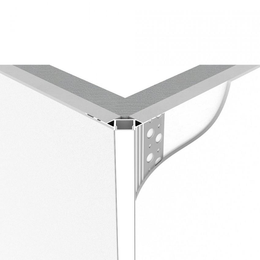 Perfil de Alumínio Integração para Esquinas Exterior Fitas LED de até 8mm