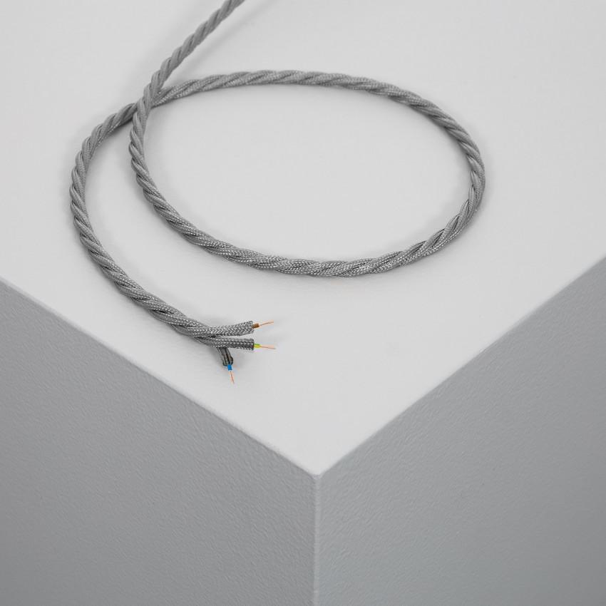 Cable Textil Trenzado Gris