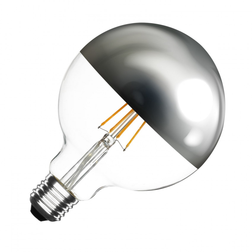 Bombilla LED E27 Regulable Filamento Chrome Reflect Supreme G125 6W