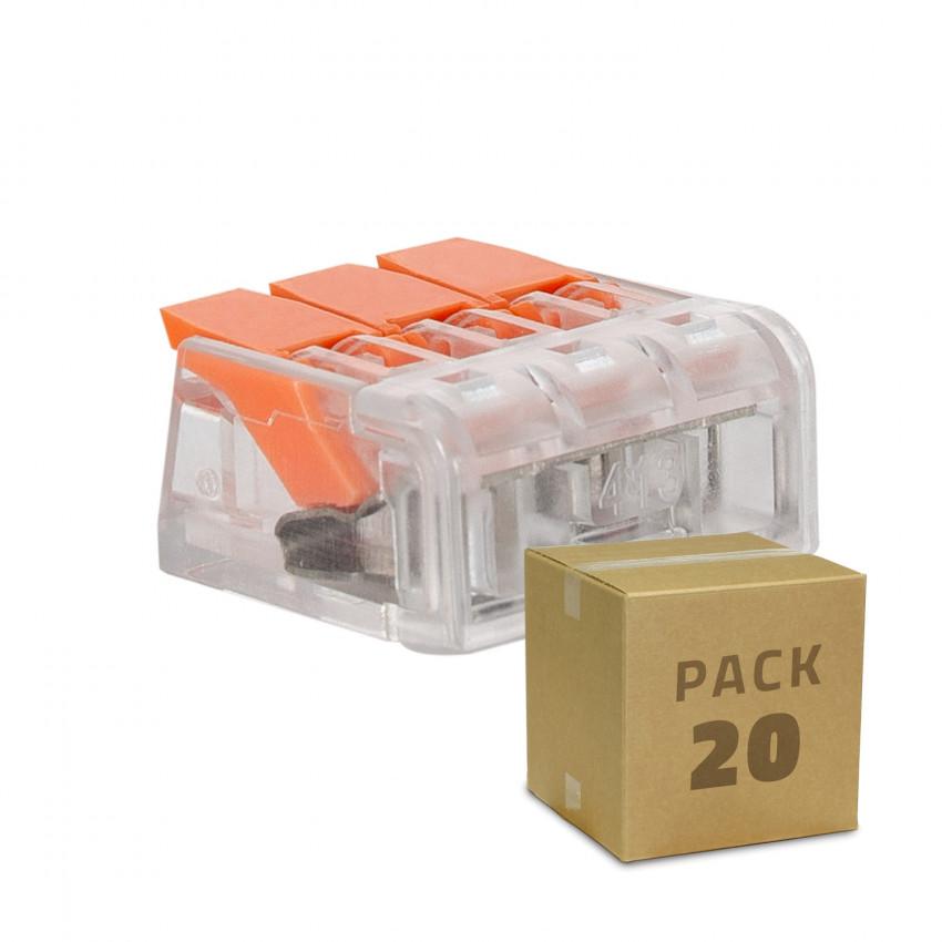 Pack 20 Conectores Rápidos 3 Entradas 0.08-4 mm²