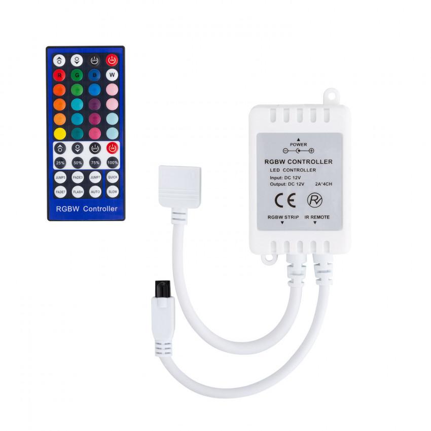 Controlador Regulador Tira LED RGBW 12V DC con Mando IR