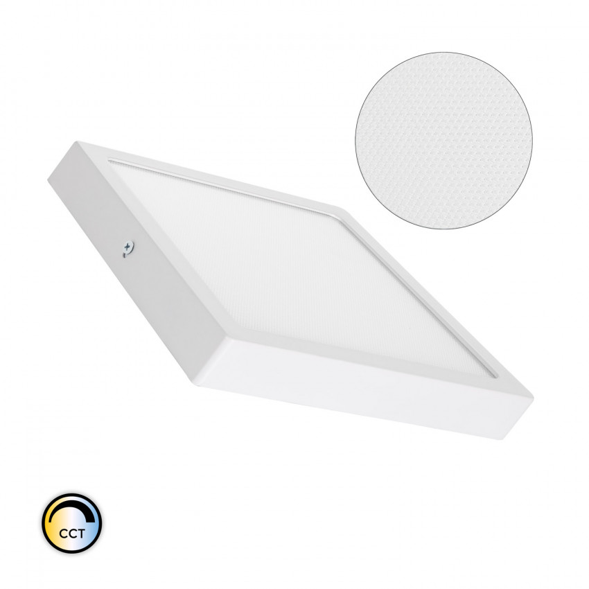 Plafón LED 18W Cuadrado Superslim (CRI90) Microprismático CCT Seleccionable (UGR17)