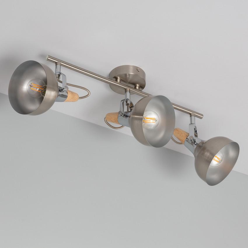 Lámpara de Techo Orientable Emer 3 Focos Plata