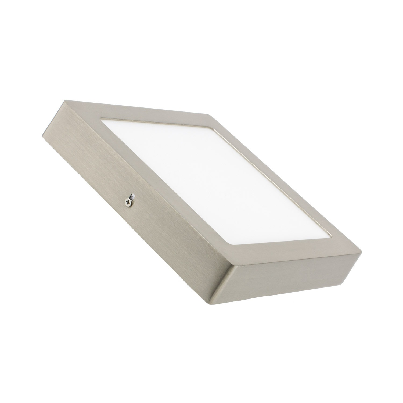 Placa Superfície LED Quadrada 18W Moldura Prata